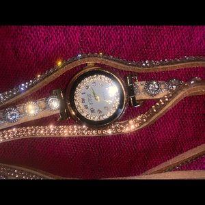 Brand new Chocolate cream crystal watch bracelet